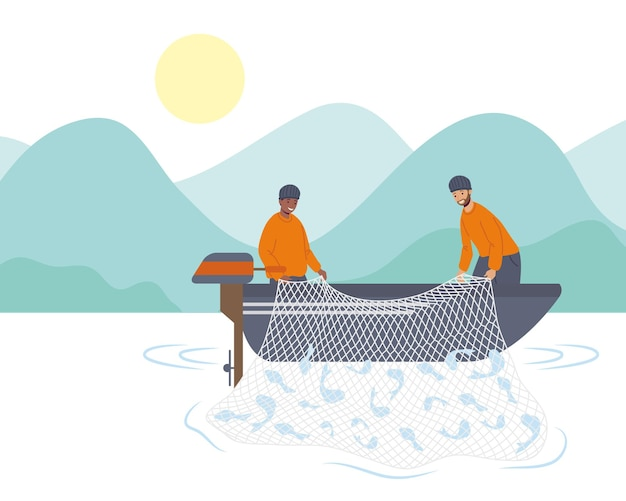 Couple fishers in lake characters