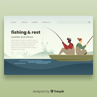 Couple fishing landing page