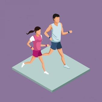 Пара фитнес работает 3d