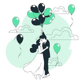 Coppia galleggiante con palloncini concetto illustrazione