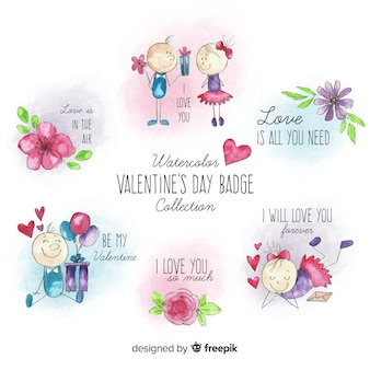 Couple and flowers valentine label pack