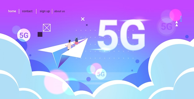 Couple flying on paper origami plane 5g online wireless system connection internet surfing concept flat horizontal