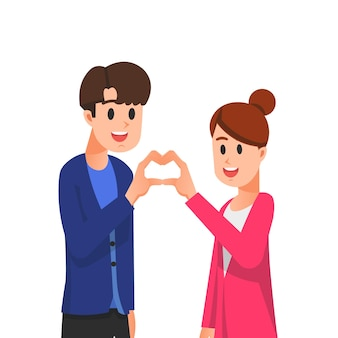 Пара формирует любовный знак своими руками