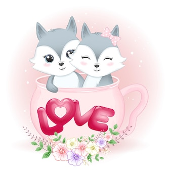 Couple fox in cup valentine's day   illustration