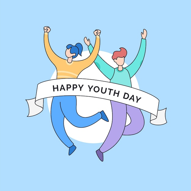 Couple friends jump pose to celebrate happy youth friendship day cartoon doodle vector illustration