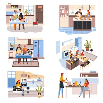 Couple and friends at kitchen, people cooking food