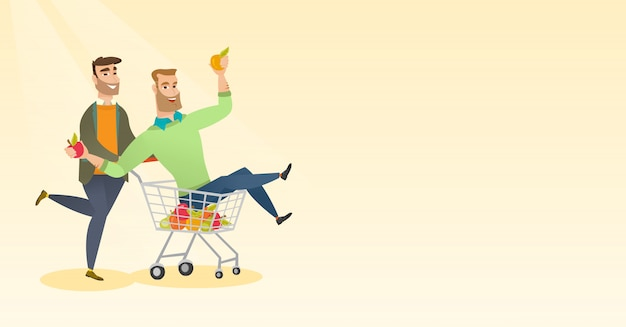 Couple of friends riding in shopping trolley.