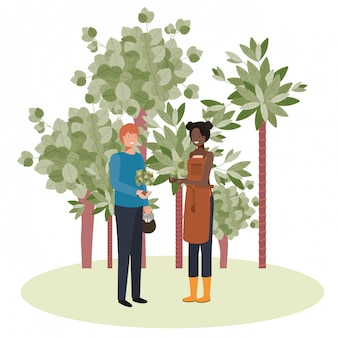 Couple of gardeners with trees avatar character
