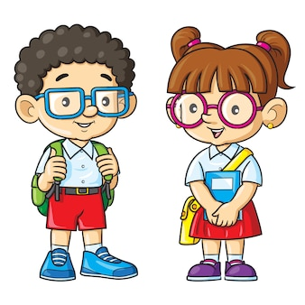 Couple geek cartoon