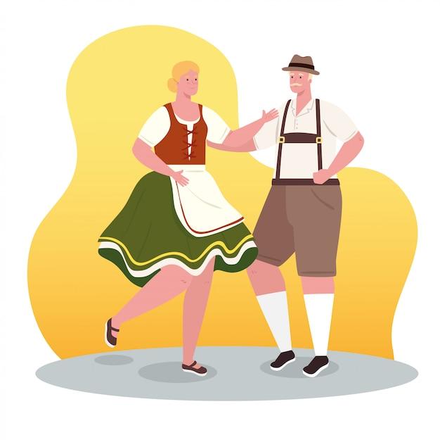 Пара немка в национальном костюме, танцы, женщина и мужчина в традиционном баварском костюме, векторные иллюстрации