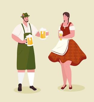Пара немка в национальном платье с пивными банками для фестиваля октоберфест векторные иллюстрации