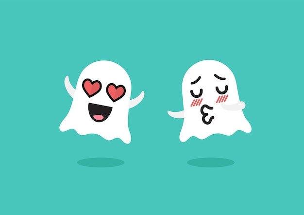 Couple ghosts emoji character. funny cartoon emoticons