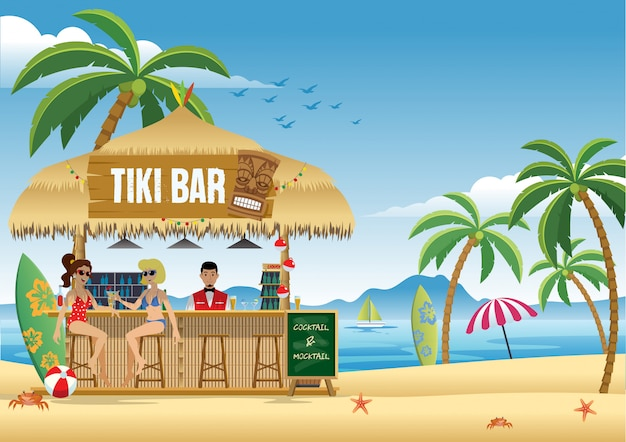 Couple girl enjoying summer at the tiki bar