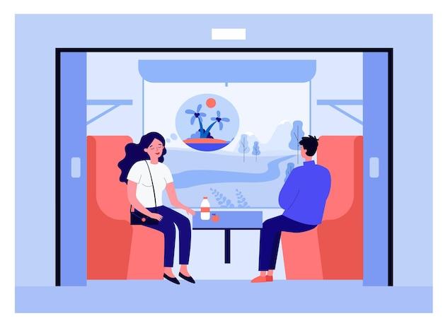 電車で休暇に行くカップル。島、馬車の窓の外のフィールドフラットベクトルイラストを考えて穏やかな女性。休日、バナー、ウェブサイトのデザインまたはランディングウェブページの旅行のコンセプト