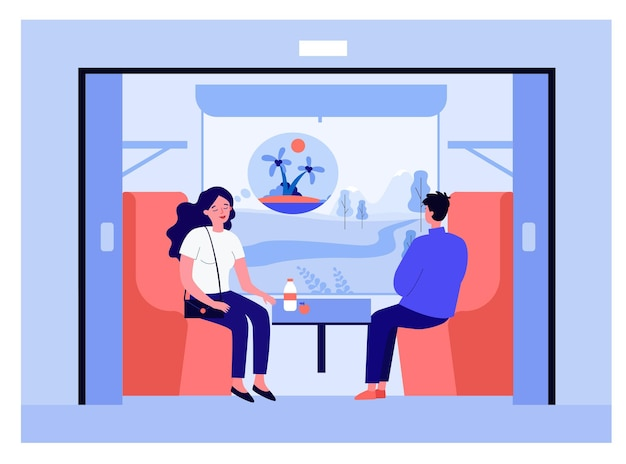 Couple going on vacation by train. calm woman thinking about island, field outside carriage window flat vector illustration. holiday, traveling concept for banner, website design or landing web page