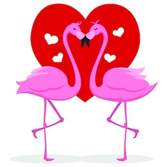 カップルのガチョウがバレンタインの日にキス