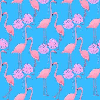 A couple of graceful flamingos. monster leaves. tropical summer background. seamless pattern.