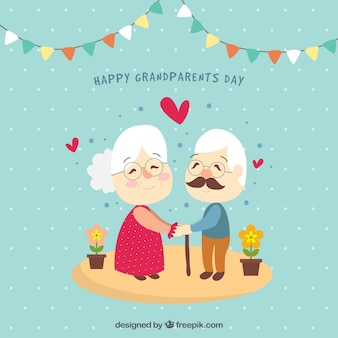 Couple grandparents in love background