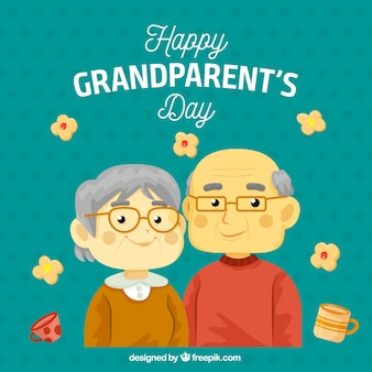 Couple of grandparents with glasses background