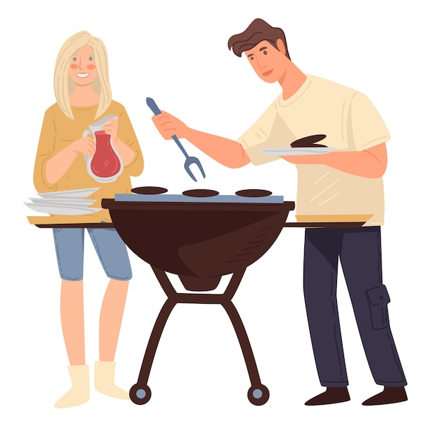 肉を焼くカップル、男性と女性のバーベキューの週末を調理