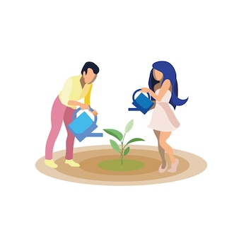 Couple growing plant   illustration