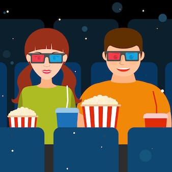 Couple, a guy and a girl at the cinema in 3d glasses with popcorn and drinks. vector illustration.