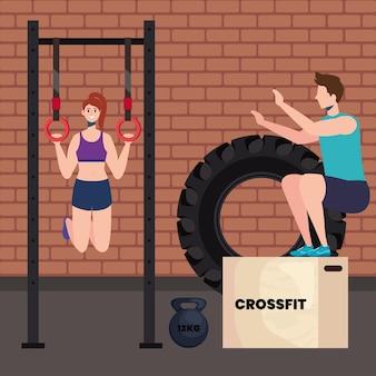 Couple on gym