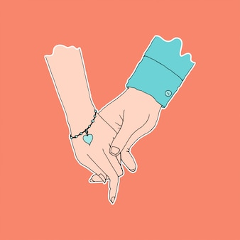Couple hand holding, symbol of affection and care, flat color
