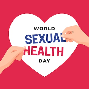 Couple hand picking text for world sexual health day illustration concept design