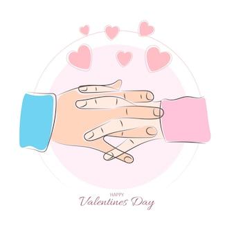 Пара руки вместе в любовных отношениях