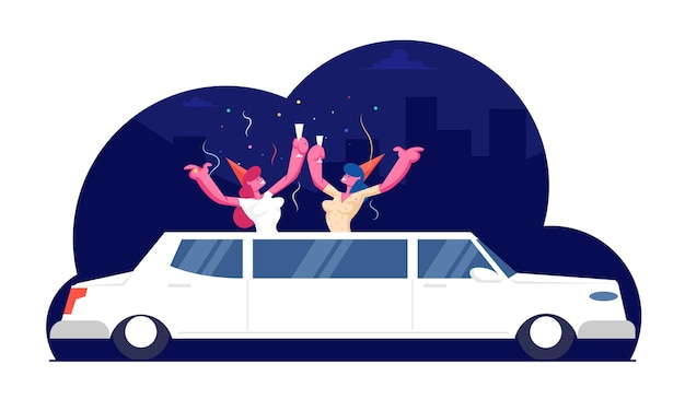 Couple of happy girls friends wearing funny hats with champagne glasses in hands stick out of white luxurious limousine with confetti flying around, cartoon flat  illustration