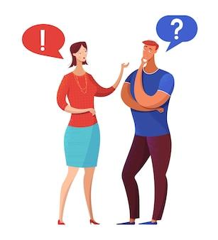 議論フラットイラストを持っているカップル夫と妻が問題を議論している