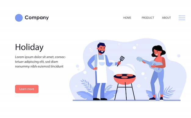 Couple having barbeque party outdoors. website template or landing page
