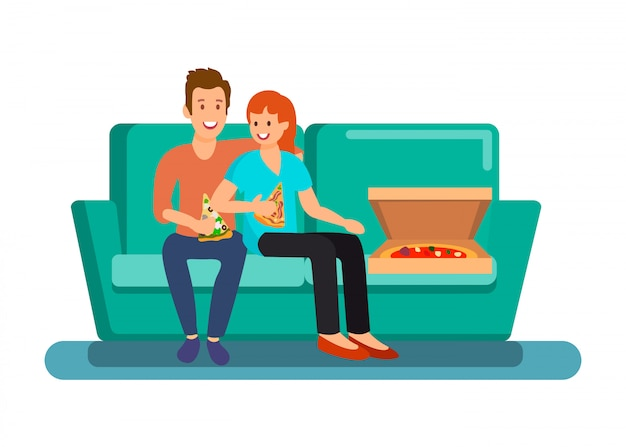 Couple having dinner at home vector illustration