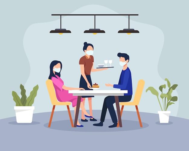 健康プロトコルのあるレストランで夕食をとるカップル。レストランでの新しい通常のシーン、カフェやレストランでの男性と女性。医療用マスクとクライアントを身に着けているウェイター。フラットスタイルで