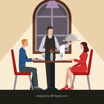 Couple having a romantic dinner with flat design