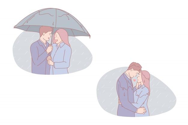 Couple having a walk illustration set