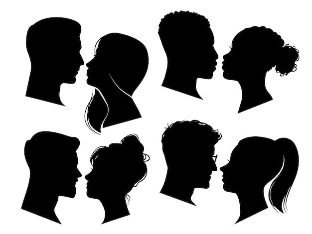 Пара голов в профиле мужчина и женщина силуэты