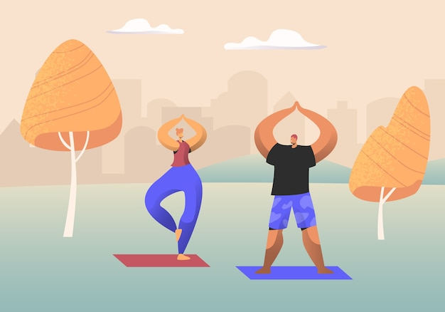 Couple of healthy people doing yoga asana or aerobics exercise standing with hands up in urban city park