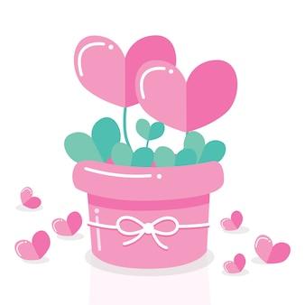 Couple heart pot