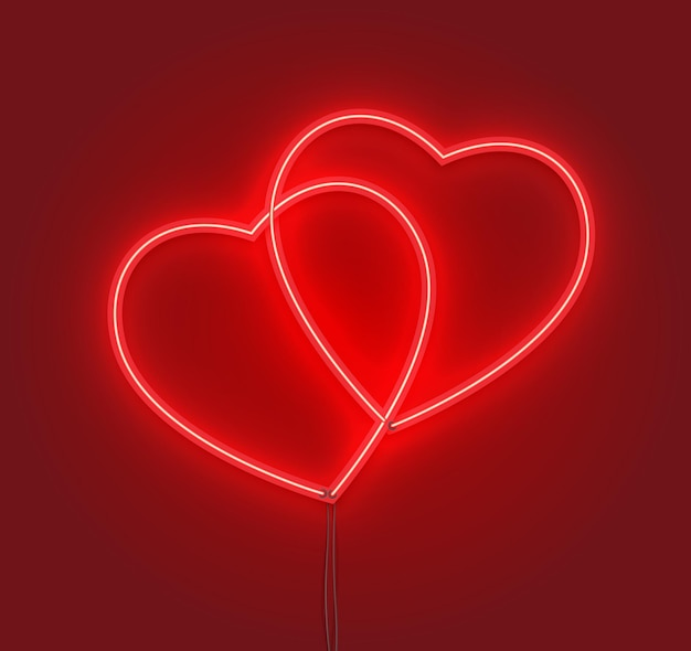 Couple hearts in neon sign effect