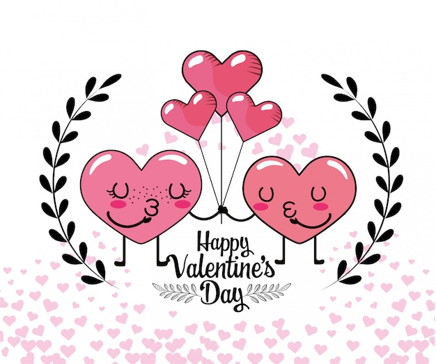 Couple hearts with balloons and branches leaves