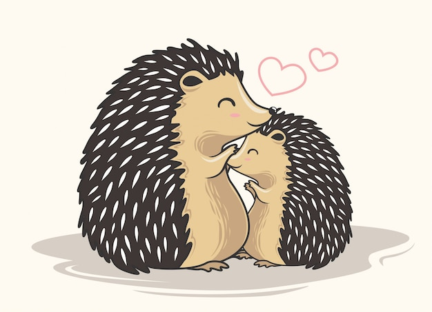 Couple hedgehog cartoon love family