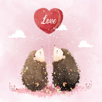 Couple Hedgehog Holding a Love Balloon