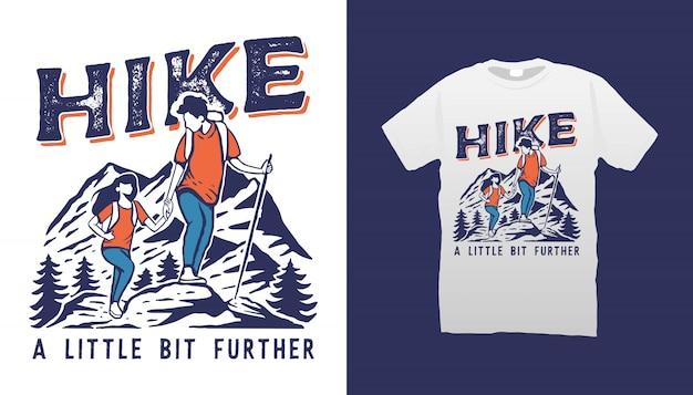 Couple hiking illustration tshirt design