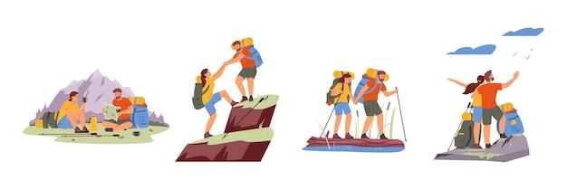 커플 하이킹 벡터 일러스트 세트입니다. 남자와 여자 야외 여행입니다. 활동적인 라이프 스타일.