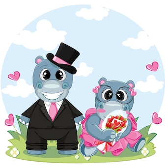 Couple hippo on holiday. cartoon vector illustration for valentine day greeting card.