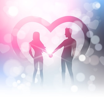 Couple hold hands over bokeh and heart shape in blur shiny light