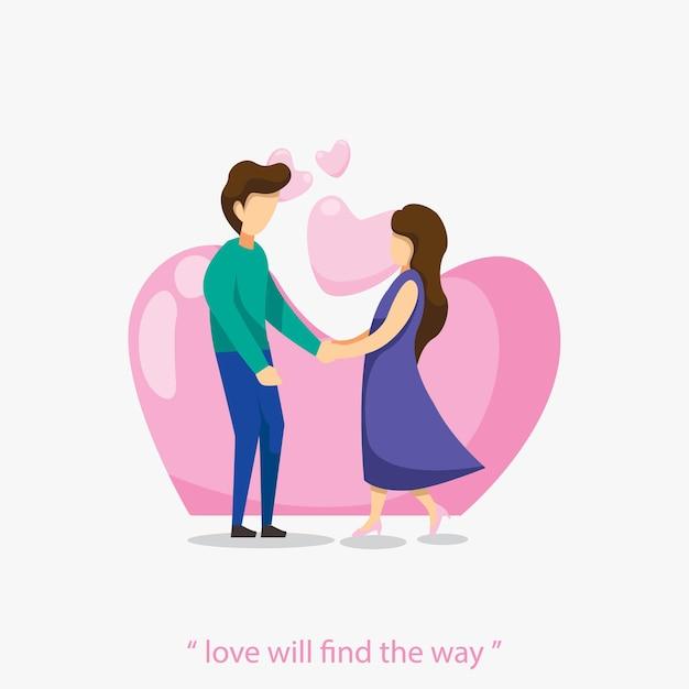 부부는 손을 잡고 사랑에 빠지다 발렌타인 평면 디자인 일러스트 레이션