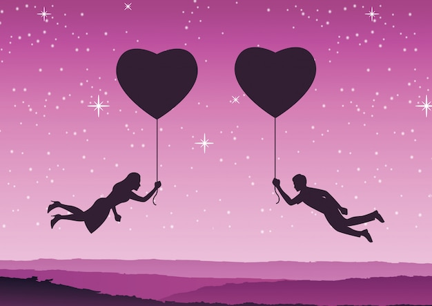 Couple hold heart shape balloon and fly approach together